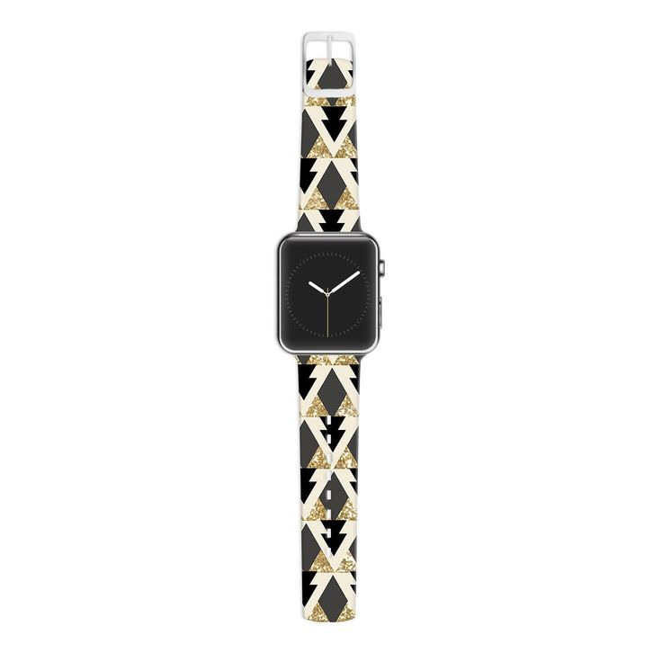 KESS InHouse Nika Martinez 38mm Strap for Apple Watch Band - Non-Retail Packaging - Glitter Triangles in Gold and Black/Geometric #kess #inhouse #apple #watch #triangles #black #gold #nude #fashion #accesories #fancy #chic #french #nikamartinez