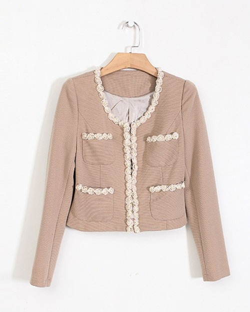 $45.80: Khakis, Lace Collar, Collars, Long Sleeve, Style In03Ybnf2106 Khaki, Sleeve Lace, Front Suit