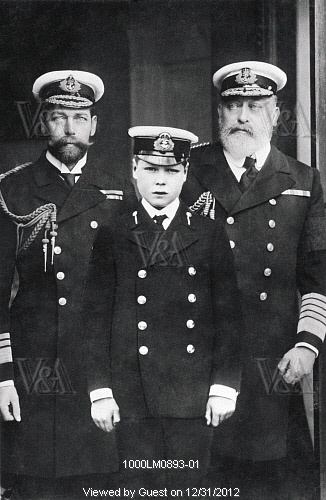 Three generations, King Edward VII, Prince George and Prince Edward. England, early 20th century