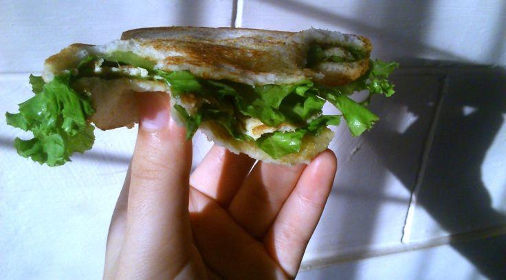egg sandwich with fresh hydroponic lettuce