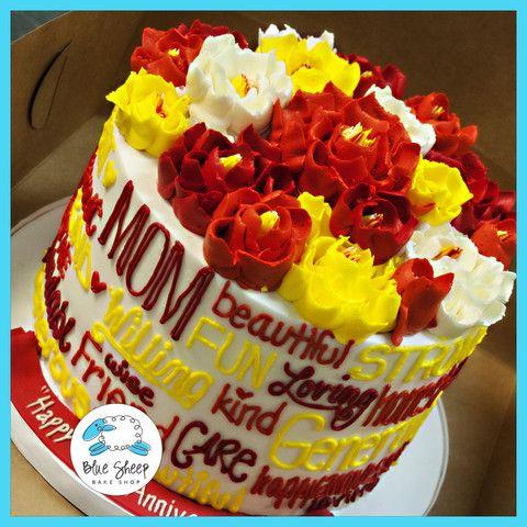 fall buttercream flowers anniversary cake