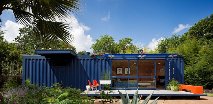 Texas architect Jim Poteet helped Stacey Hill, who lives in a San Antonio artists' community, wrangle an empty steel shipping container into a playhouse, a garden retreat and a guesthouse for visiting artists. The container measures a narrow and long 8 by 40 feet; Hill asked that a portion of the square footage be retained as a garden shed and the rest serve as the living space. The architect added floor-to-ceiling glass doors and windows, heating and air-conditioning, a green roof, bamboo…