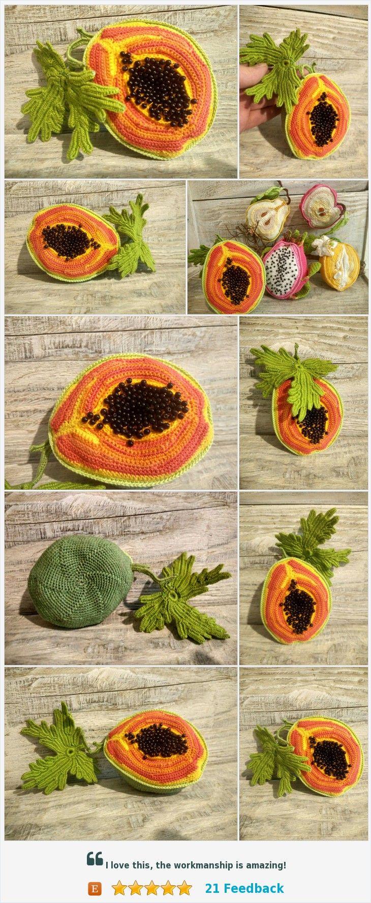 Papaya Orange Fruit Exotic Miniature Realistic Food Handmade Toy Decoration Gift Kitchen Decor Amigurumi Toy Knitted Tropical Fruit Papaya https://www.etsy.com/VintageVilageShop/listing/576412738/papaya-orange-fruit-exotic-miniature?ref=shop_home_active_3