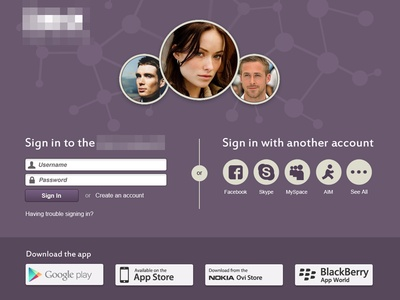 Multiple Social Login design with downloadable .png
