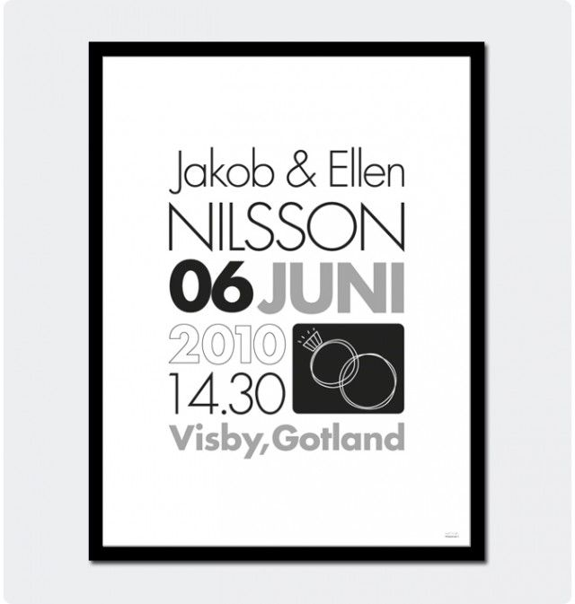 Buy a personalized print with names, date and place for a wedding couple! Designed by Fröken Form. #nordicdesigncollective #wedding #gift #wed #newlywed #love #celebrate #celebration #party #present #lovers #couple #husband #wife #husbandandwife #iheartyou #hearts #frokenform #weddingcouple #married #justmarried #poster #personalized #personalizedposter #print #ring #weddingring #date #place #name #weddinggift