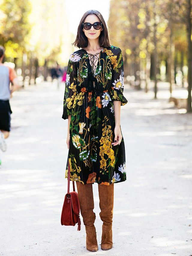 If you're spending the holiday with your closest of kin, let this be the time to experiment with a seasonally hued dress paired with thigh-high suede boots and a saddle bag.