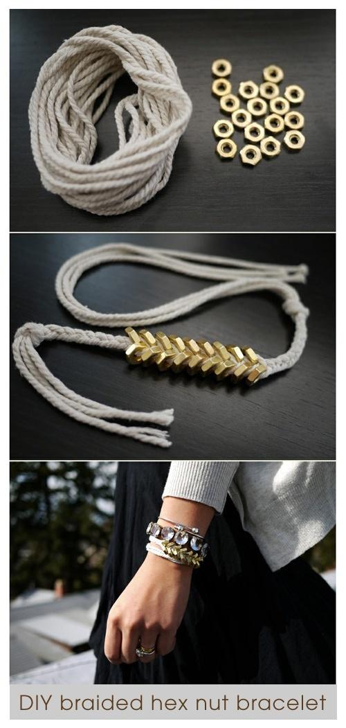 DIY braided hex nut bracelet. Loving this.