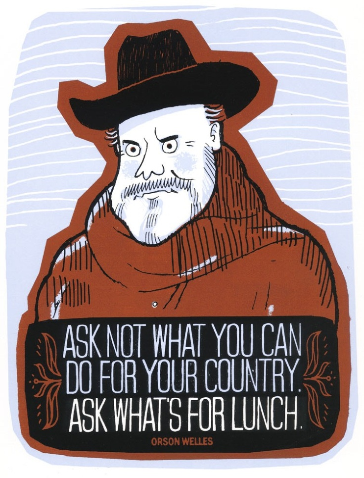 Silkscreen art print - Orson Welles lunch quote.     Shake Shack of course!