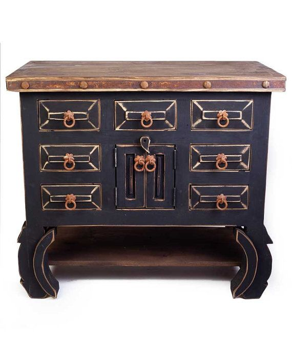 7 Drawer Black Rustic Vanity 90011 By FoxDenDecor On Etsy
