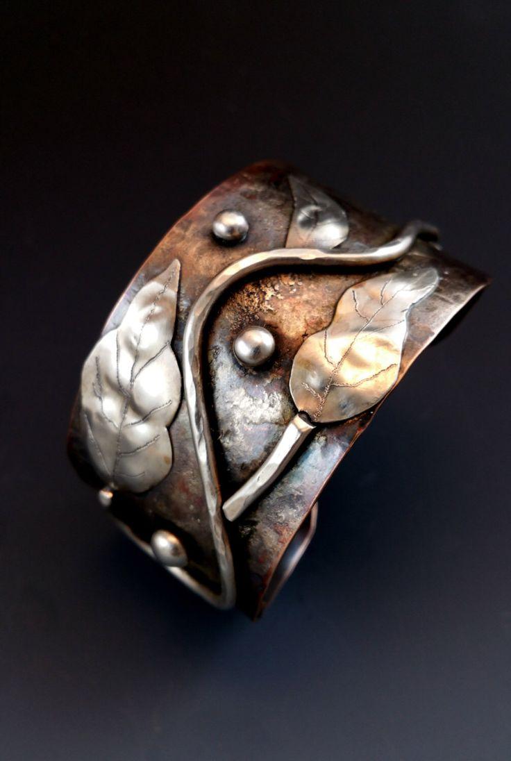 Unique Handmade Silver cuff bracelet, Copper Cuff, Copper Jewelry,Rustic Jewelry,Silver Cuff ,Bohemian, Boho Jewelry, Mixed Metal Jewelry by gailwilliamsjewelry on Etsy https://www.etsy.com/listing/254514653/unique-handmade-silver-cuff-bracelet