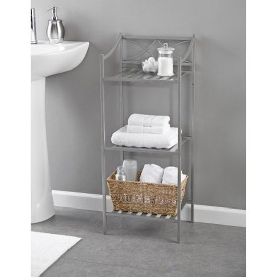 Bathroom Linen Tower 3 Shelves Hold Towels Bath Accessories Satin Nickel Finish #ChapterLexingtonPark