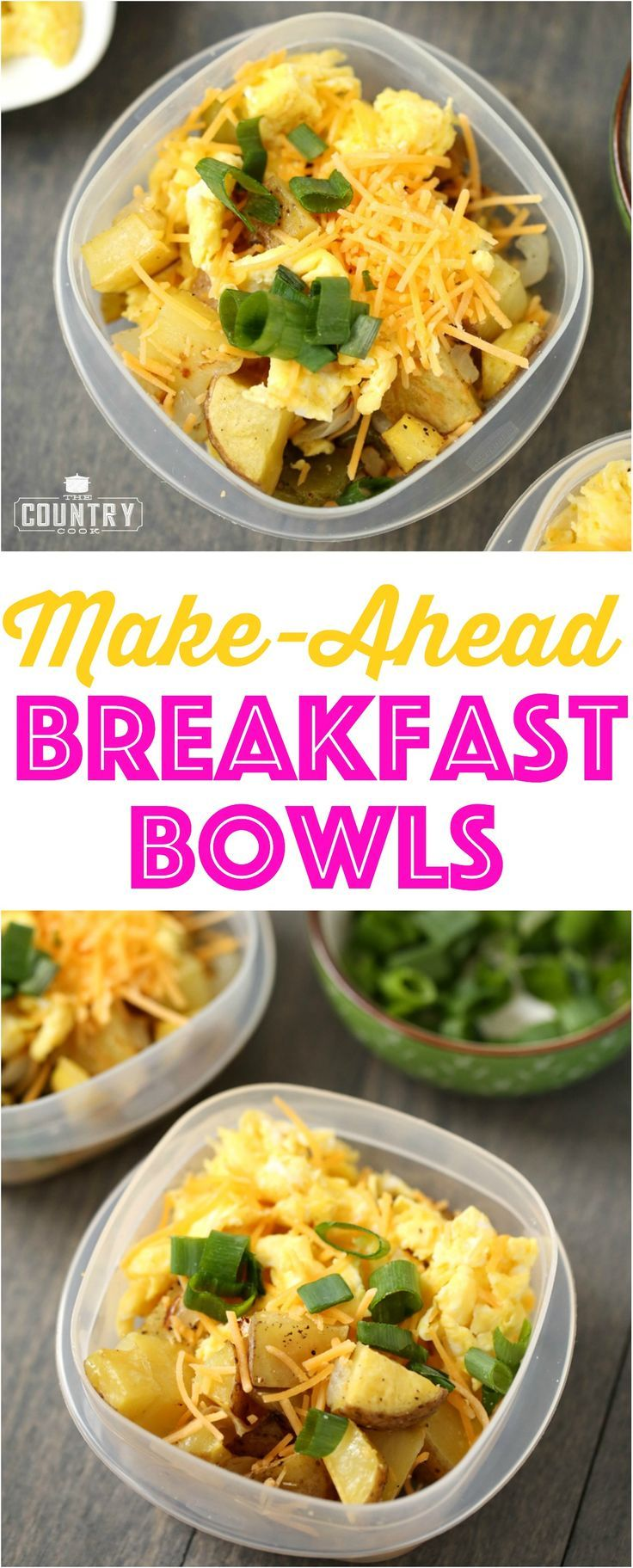 Make-Ahead Breakfast Bowls recipe from The Country Cook. Easy, protein-filled and filling!