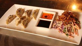 Prawn and Pork Dumplings with Miso Coleslaw  by Ella Krauts