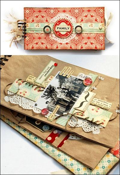 Spiral bound paper bag album