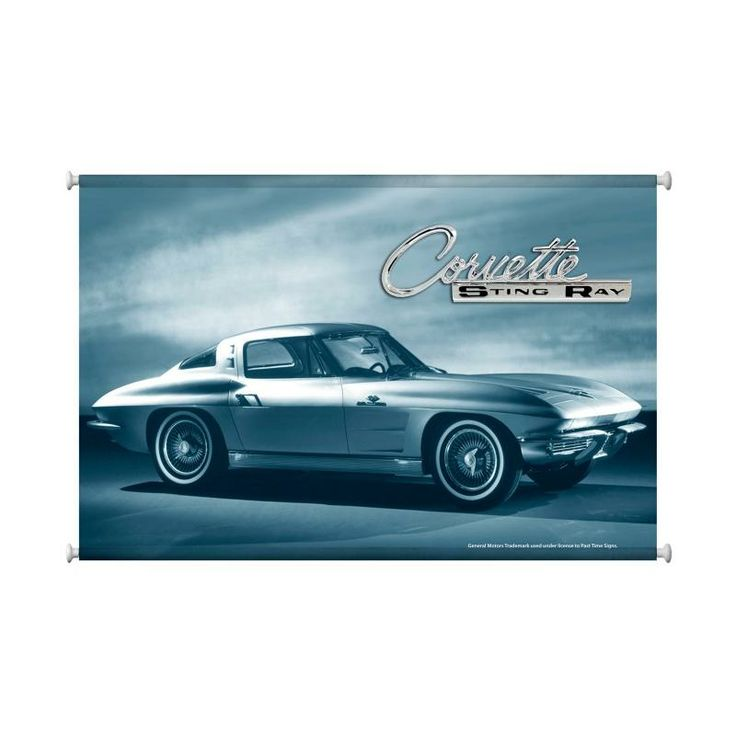From the General Motors licensed collection, this Corvette Stingray canvas print measures 38 inches by 25 inches and weighs in at 2 lb(s). We hand stitch all of our canvas print in the USA using a heavy duty close woven canvas and a giclee printing process where the image is sprayed onto the canvas for a high quality durable finish. This canvas comes ready to hang with finialed dowels and hanging cord.