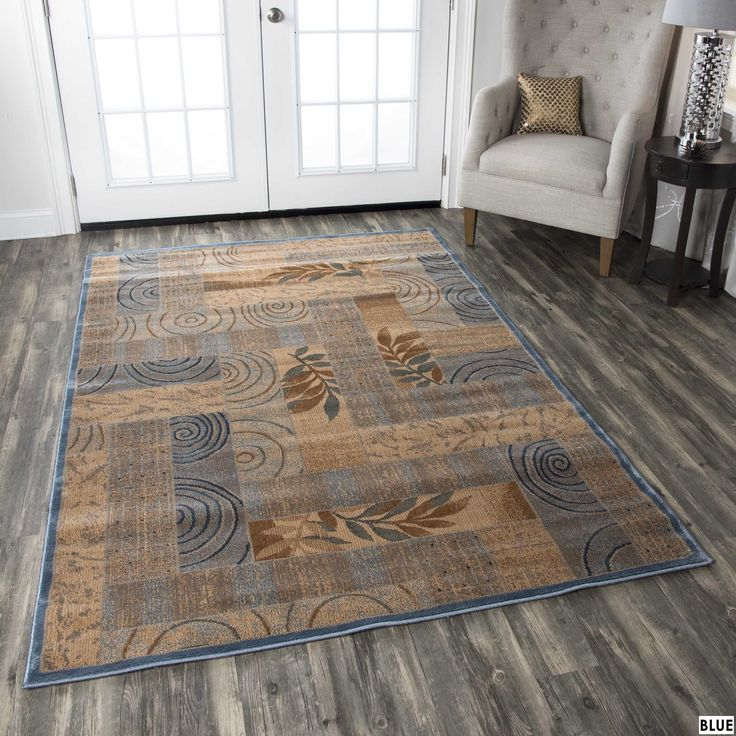 Rizzy Home Transitional Blue/ Red Abstract Bellevue Collection Power-Loomed Accent Rug (9'2 x 12'6) (