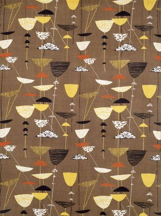 Calyx, furnishing fabric, by Lucienne Day for the Festival of Britain in 1951. Screen printed linen Manufactured by Heal's Wholesale and Export Ltd. London, England, 1951. V Prints