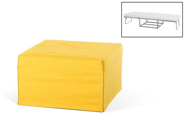 People say to never judge a book by its cover and that is certainly the case with the Divani Casa Incognito Modern Yellow Fabric Ottoman Sofa Bed. While it may look like a  simple ottoman, with a little maneuvering, it also turns into a sofa bed.