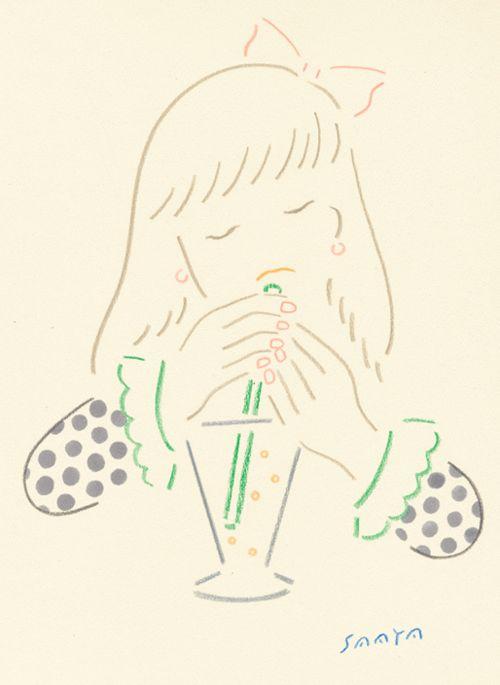 saayamm:  ジュースを飲む女の子 2013年5月