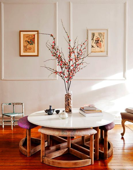 love the round table & upholstered stools by nightwood  boerum hill interior published in the new york times (photo credit: trevor tondro for the new york times)