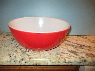 Pyrex Rojo tazón 4 Qt grandes anidación Vintage #404 Rara