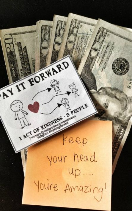 "Random Acts of Kindness: The REAL way to change the world.  Free printable ""Pay it forward"" cards."