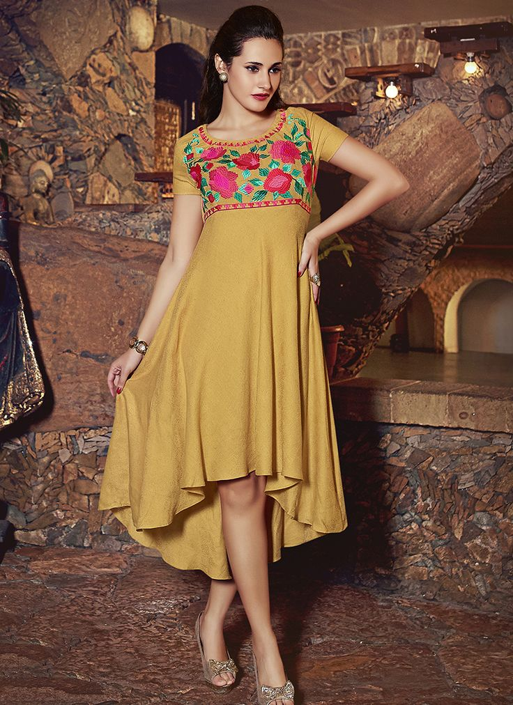 Yellow Office Wear Whole Kurtis Supplier Online Grab Now Http Www