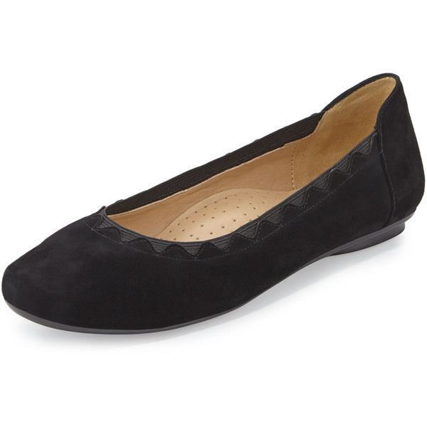 Neiman Marcus Seyna Scalloped Suede Flat ($129) ❤ liked on Polyvore featuring shoes, flats, black, neiman marcus shoes, round toe flats, black flat shoes, black suede flats and black shoes