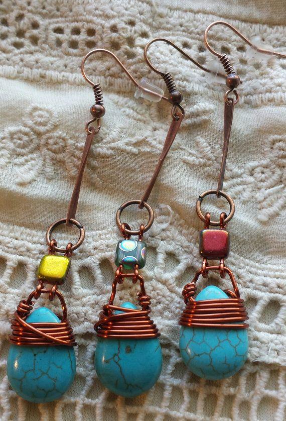 Turquoise Teardrop Earrings by GypsyJunkStudio on Etsy