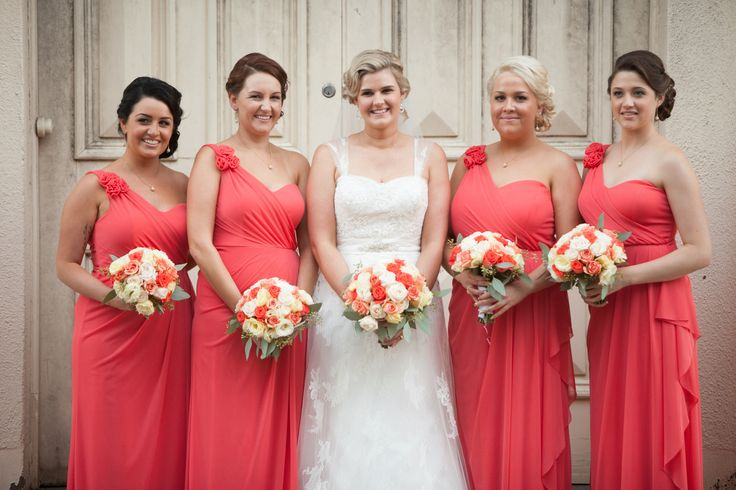 Beautiful feminine watermelon colours for Bridesmaids by Total Brides hair & makeup