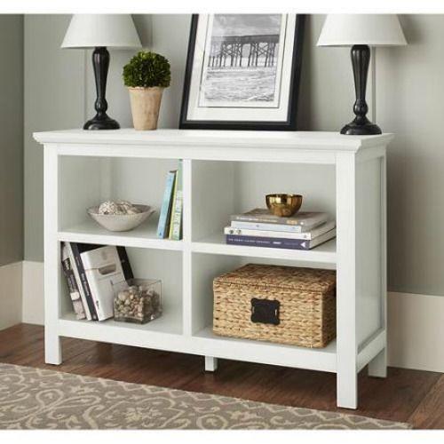 Horizontal Book Case White Shelf Entryway Foyer Furniture
