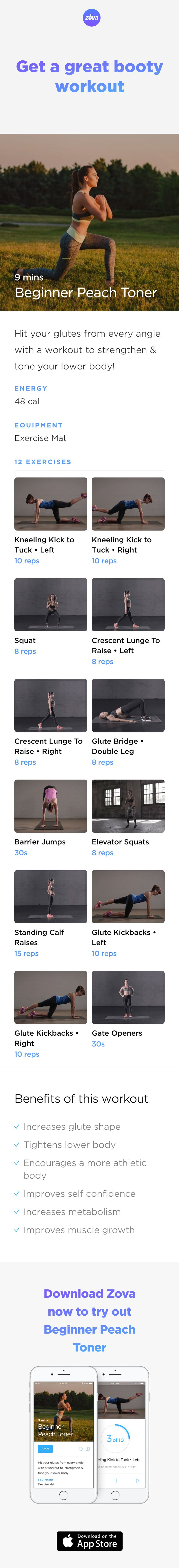 Looking to tone and shape your booty? All you need to do is focus on your glutes! They help shape and firm your butt, as well as strengthen your lower body. Working your glute muscles to the max with this quick and easy workout for beginners, will get you booty you deserve in no time! #tone #HIIT #workout #fitness #butt #booty