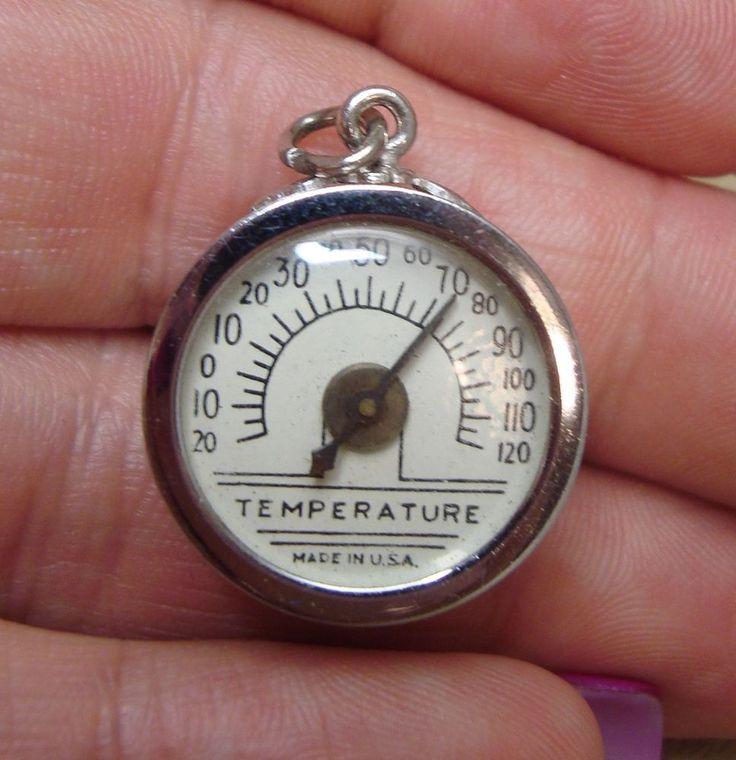 Rare Vintage Sterling Silver TEMPERATURE GAUGE Bracelet Charm