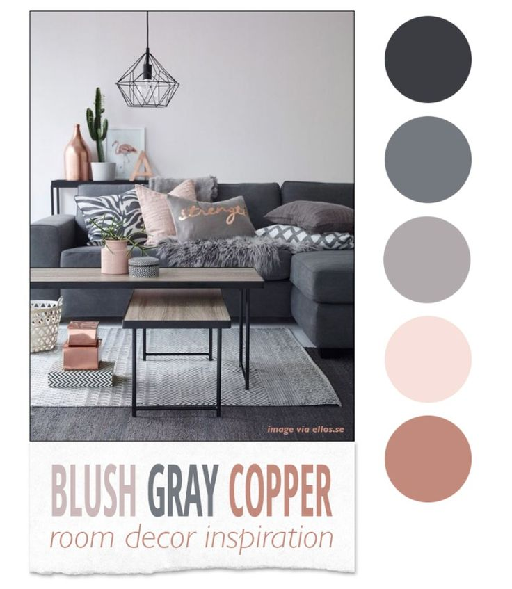 Blush, Gray, and Copper Room Decor Inspiration - A color palette and decor items that work well with the rustic glam interior design theme!