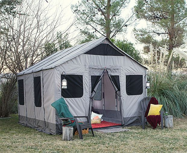 Safari Tent With 120-square feet of floor space plus screened windows & doors and a full-height ceiling, this tent is more like a Cordura cabin. It's built to sleep 8 but will be perfect for just the two of you. $2000