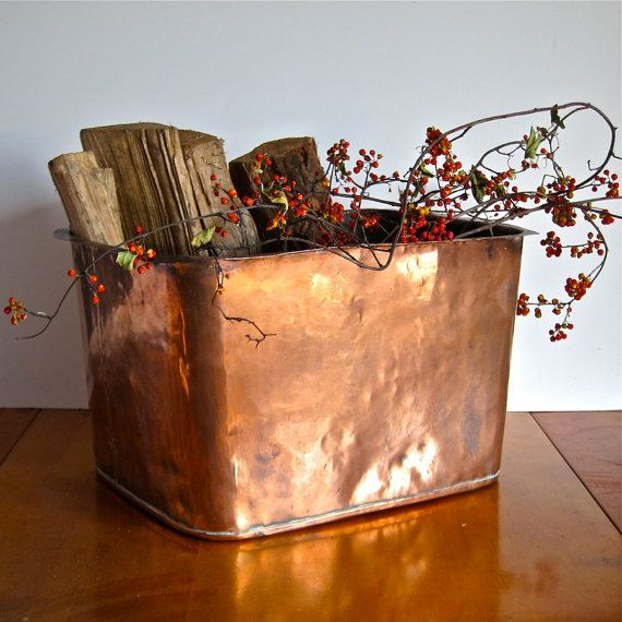 Antique Hammered Copper Tub - Large Fireplace Log Holder Bin - 19th Century - 17 Best Ideas About Log Holder On Pinterest Cheap Benches, Cheap