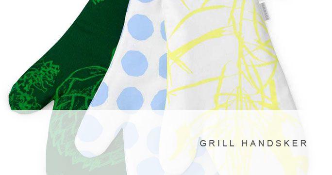Grillhandsker. 3 designs. Forskellige farver. http://shop.kurage.dk/kokken-spisestue/grillhandsker.html.