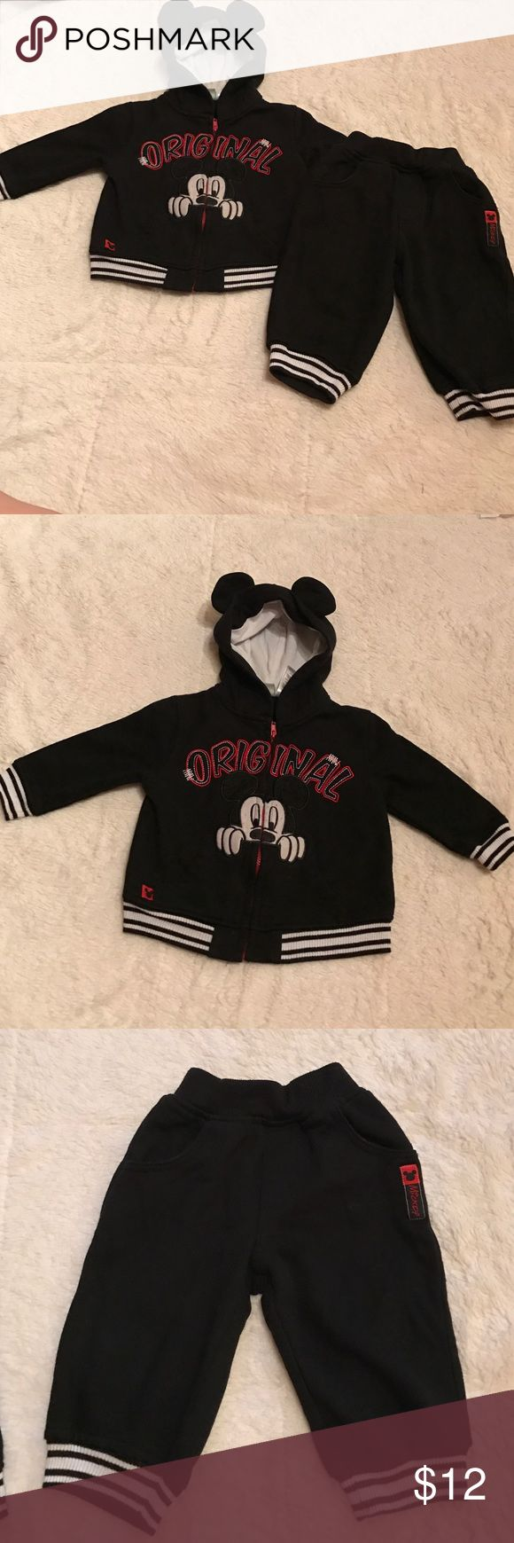 Mickey Mouse matching set Black and White matching set of sweatpants and a zip up hoodie from Disney. Mickey Mouse on the front. Pockets on hoodie and pants. Size 12 m Disney Matching Sets