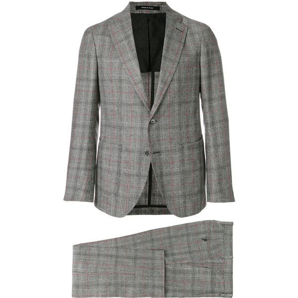 Tagliatore check two-piece suit (612,955 KRW) ❤ liked on Polyvore featuring men's fashion, men's clothing, men's suits, grey, checked mens suits, men's 2 piece suits, mens two piece suits, mens gray suit and mens grey suits