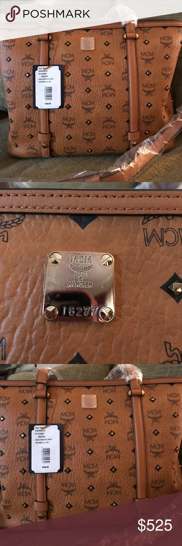 Authentic MCM Brand New with tags and paperwork. Purchased and it was too large for me. I would classify as large Congnac studded beautiful MCM Bags Shoulder Bags