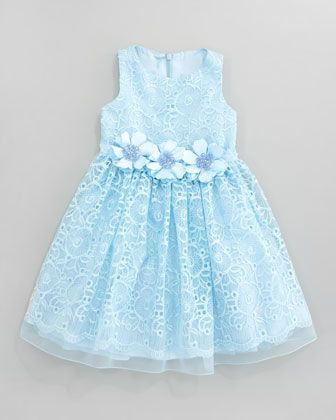 Lace Overlay Flower Dress, Aqua by David Charles at Neiman Marcus.