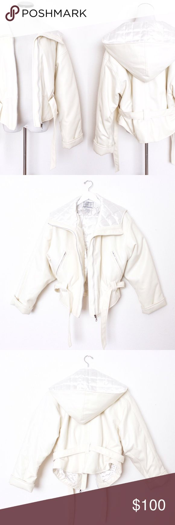 "Cream Vegan Leather Thick Heavy Coat BB Dakota ⑊ Size L  ⌁ Measurements: 20"" length 22"" bust 22"" sleeve 22.5"" shoulder  ⌁ Material: 73.3% polyvinyl chloride 26.7% cotton satin acetate lining  ⌁ Condition: Used. Has some scuffs around the cuffs, a tiny blue stain on shoulder, and makeup stains inside — not noticeable!  Comment below if you have any questions. Please make all offers using the ""offer"" button. No trades. No holds. Comes from a smoke-free/pet-free home. Not responsible for…"