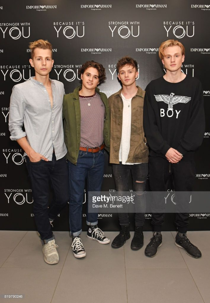 James McVey, Bradley Simpson, Connor Ball and Tristan Evans of The Vamps attend the Emporio Armani You Fragrance launch at Sea Containers on July 20, 2017 in London, England.
