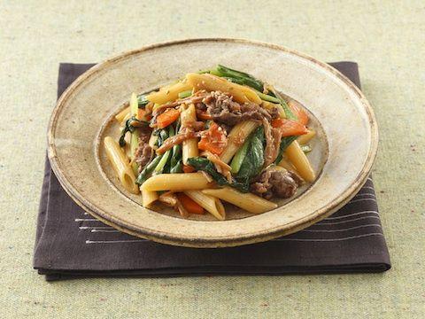 小松菜と牛肉の和風パスタ  https://recipe.yamasa.com/recipes/663
