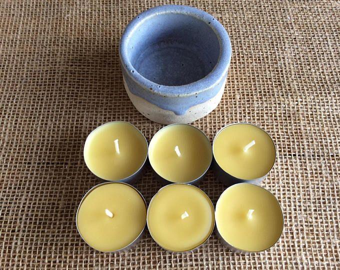 Ceramic Tea Light Holder and 6 Beeswax Tea Lights, Tea Light Set, Beeswax Tea Light Set, Pottery Tea Light Holder and 6 Tea Lights, Candles #mothersdaygift #tealights #tealightgiftset #candles #candlemaker #beeswaxcandles