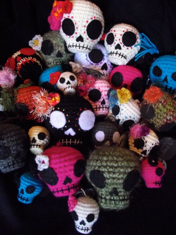 Crochet Day of the Dead/Halloween Skull hanging by TOSHWERKS