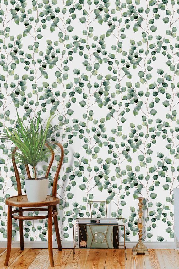 Peel And Stick Eucalyptus Wallpaper Self Adhesive Greenery Nature Leaves Wall Mural Vinyl And Pr Cleaning Walls Paper Wallpaper Wall Murals