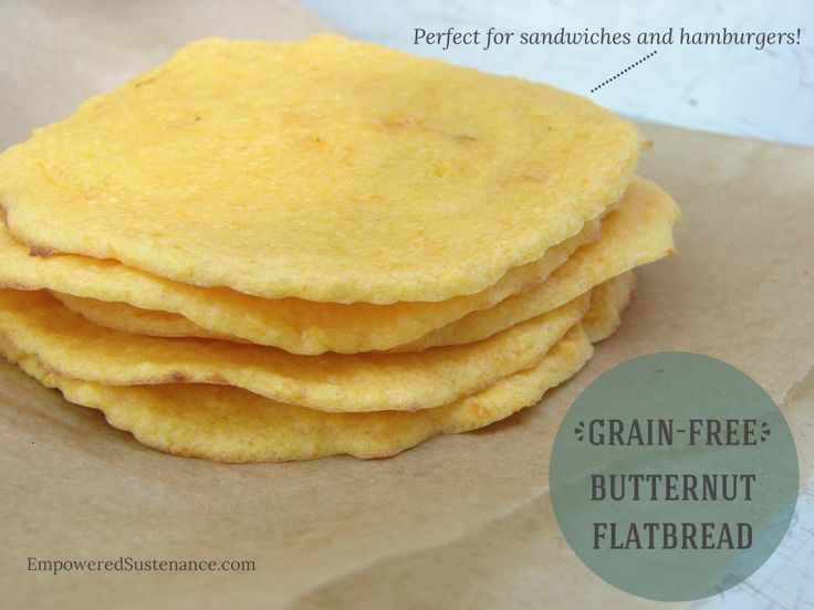 Grain Free Butternut Flatbread makes an easy and healthy bread alternative. Use it for sandwiches, hamburger buns and even mini pizza crusts!