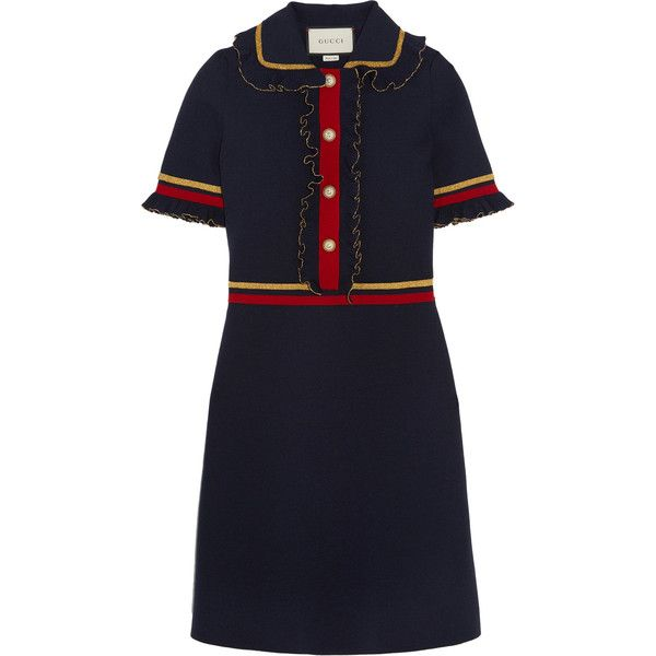 Gucci Faux pearl-embellished ruffled wool-blend mini dress (29.285 ARS) ❤ liked on Polyvore featuring dresses, short-sleeve shift dresses, frilly dresses, collar dress, short ruffle dress and mini dress