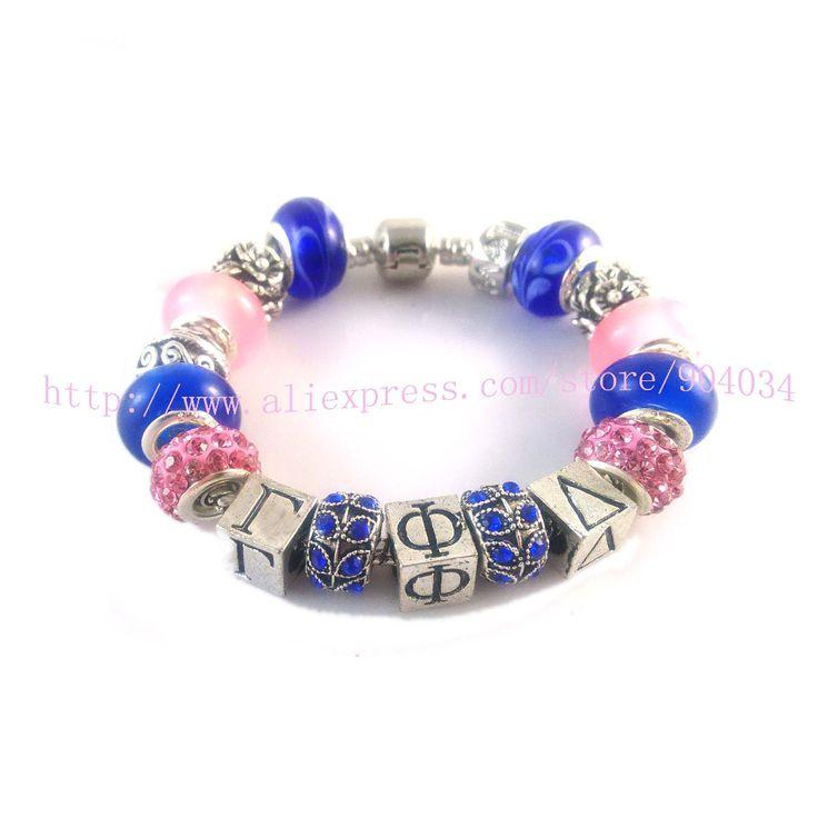 Newest  Custom  Gamma Phi Delta Sorority    charm bead  bracelet bangle 1pc